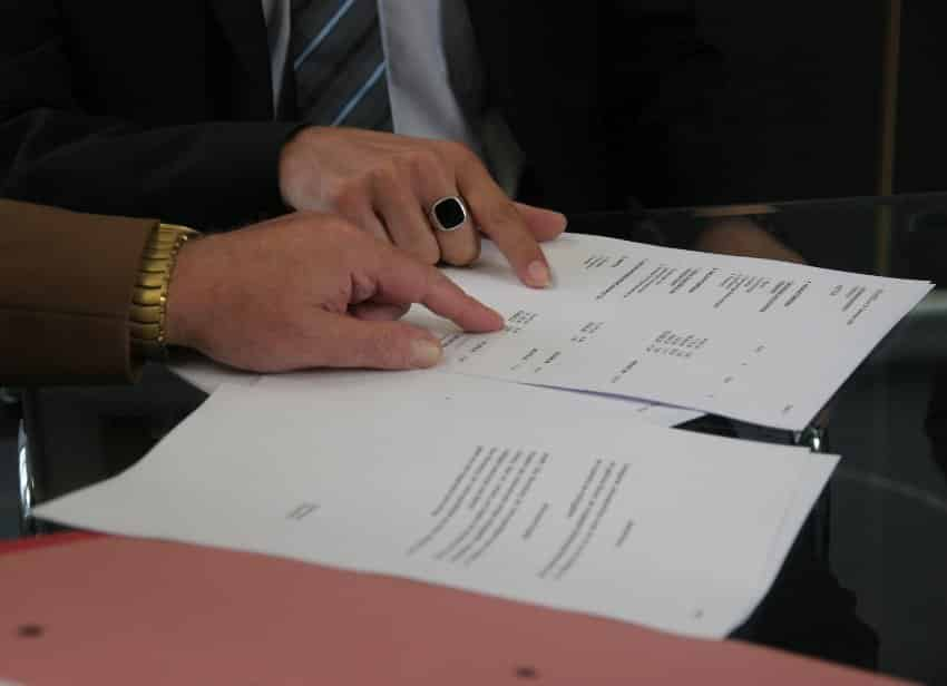 Contract Law -- two peole reviewing a contract