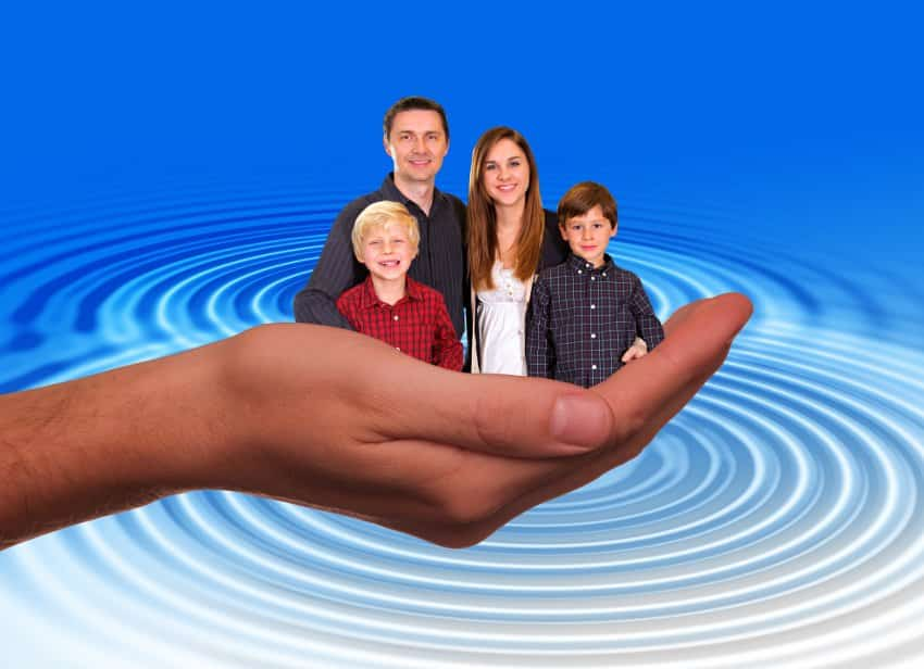 Family Law -- a family in a hand against a blue background